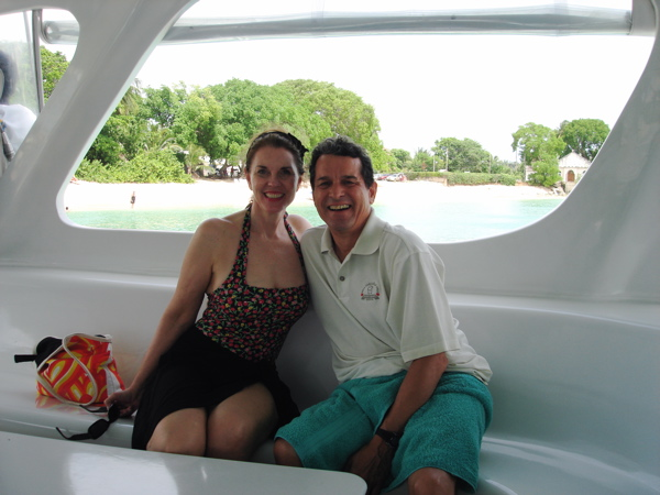 On a catamaran in July 2007
