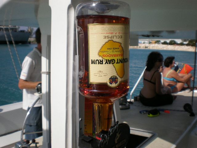 See? Rum goes with everything in Barbados.  Here, a Tiami catamaran cruise.