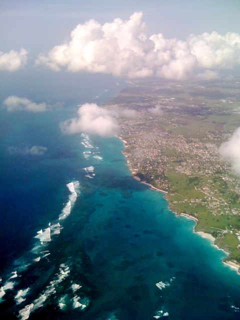 Out of the window of our Caribbean Air flight from Barbados to Jamaica, I snapped the beautiful north coast of Barbados yesterday with my iPhone.