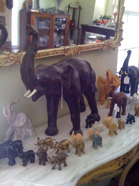 Elephants at the stimulating Barbados antique store Greenwich Antiques