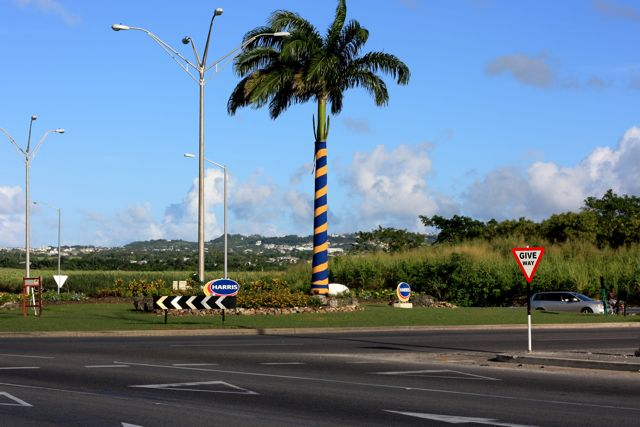 Celebrating Barbados' Independence Day at a roundabout in St Michael.