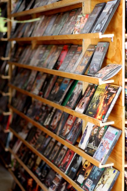A first-class selection of DVD rentals - but don't even think about it.