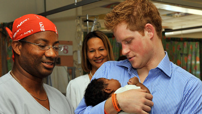 Prince Harry in Barbados at Queen Elizabeth Hospital