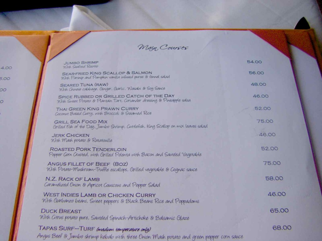 Tapas restaurant menu, Barbados