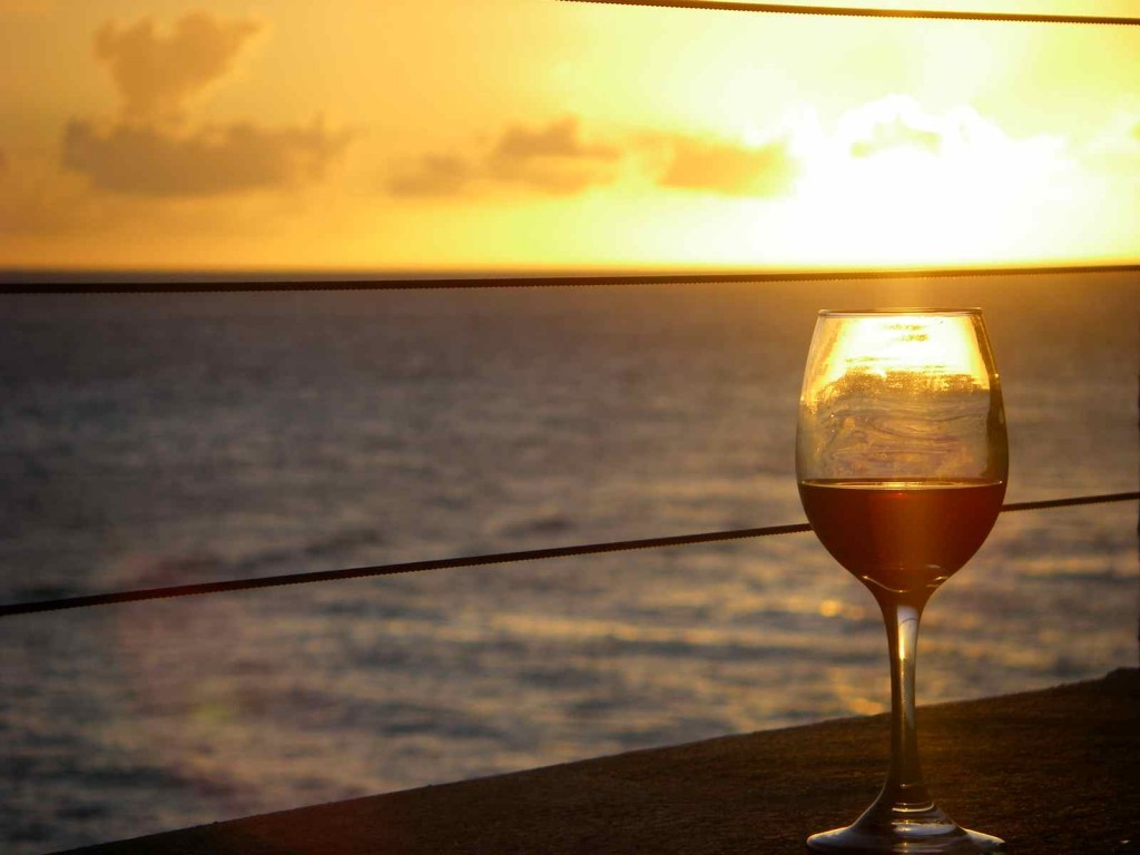Enjoying a glass of wine in Barbados